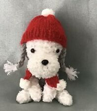 More details for bedlington terrier  miniature hat and scarf amigurumi sitting crochet dog.