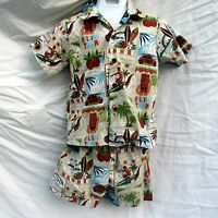 RJC Two Piece Set Hawaiian Aloha Shirt Shorts Size 6 Haleiwa Town Makaha Maui