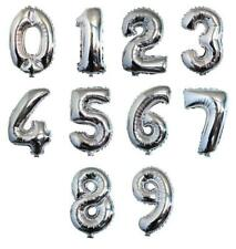 Party : Silver Number Foil Balloon Party Decor 1 pc