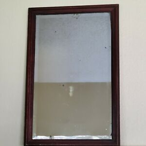 Antique Beveled Glass Wall Accent MIRROR Art 19x29 Inch Wood Framed