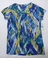 Chaus Top T Shirt Blue Yellow Green White M Medium Womens New NWOT