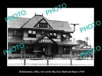 OLD LARGE HISTORIC PHOTO OF BELLEFONTAINE OHIO BIG FOUR RAILROAD DEPOT c1910 1