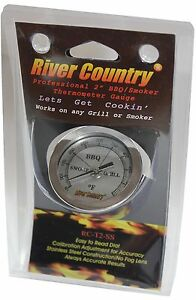 """2"""" RIVER COUNTRY SS DIAL BBQ CHARCOAL GAS ELECTRIC GRILL SMOKER PIT THERMOMETER"""