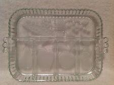 Frosted Rectangular Crystal Platter Vineyard Fruit Design Divided  GORGEOUS!!