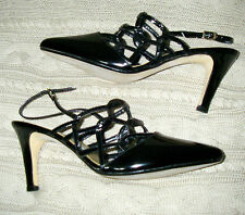 """80s Vintage Heels by MASERATI /3.5"""" Heel/Interlock Black Patent Sling Back/8 Med"""