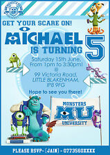 Personalised Birthday Party Invitations Monster University 8 CARTES PACK (A6)