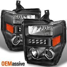 08-10 F250/350/450 Super Duty LED Halo Black Projector Headlights LH+RH Pair
