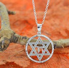 Jewish Star of David Life Chai Pendant-Sterling Silver-Hebrew Chai Charm Pendant
