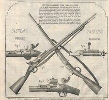 """"""" FUSIL CHASSEPOT / FUSIL SNIDERS """" GRAVURE ENGRAVING 1866"""