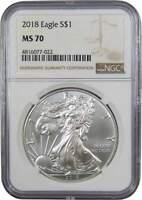 2018 $1 American Eagle 1 oz .999 Silver Dollar Coin MS 70 NGC