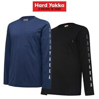 Mens Hard Yakka 3056 Crew Neck Graphic Tee Long Sleeve Work Shirt 2019 Y11615