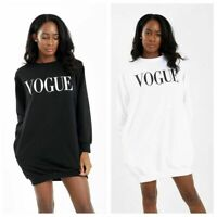 Womens Ladies Oversized Baggy Longline Vogue Slogan Print Sweatshirt Tunic Dress