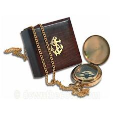 Pocket Compass & Chain in Nautical Wooden Box - Brass Gift - FAST TRACKED POST!