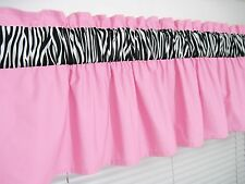 3 inch wide rod pocket ~ Baby Pink and Zebra Print Window Valance Curtain Topper