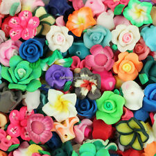 50pcs Assorted Mixed Polymer Fimo Clay Flower Loose Spacer beads 8mm-15mm