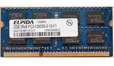 RAM MEMORIA 2GB 2Rx8 PC3-10600S 1333MHz DDR3 SODIMM NOTEBOOK PORTATILE LAPTOP