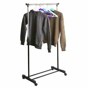 GARMENT RACK SINGLE SILVER BLACK ADJUSTABLE PORTABLE CLOTHES RAIL STAND