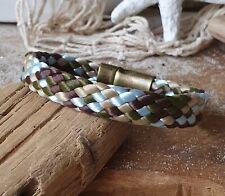 Armband Segeltau flach 10mm Hellblau Braun Oliv Beige mit Magnetverschluss