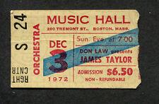 Original 1972 James Taylor concert ticket stub Boston Music Hall One Man Dog