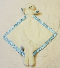 My Banky HUGS BEAR Lovey Security Blanket White with blue trim