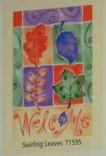 """Swirling Leaves Welcome Autumn Decorative Art Flag 28"""" x 40"""" Nip New by Toland"""