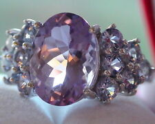 STUNNING! NATURAL PURPLE  AMETHYST, TANZANITE RING 925 SILVER,Size 8.0