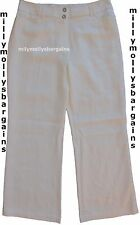 New Womens Marks & Spencer White Wide Leg Linen Trousers Size 12 Reg DEFECT