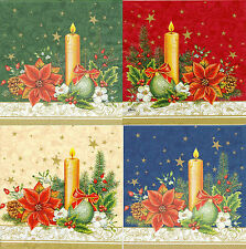 4 Serviettes papier Noël Bougeoir Decoupage Paper Napkins Christmas Decoration