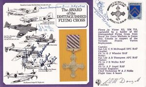 The Award of DFC  Signed by 5 DFC Holders H R G Poulton Battle of Britain Pilot