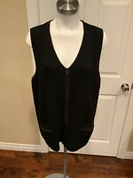 Margaret O'Leary Black Knit Wool Zip-Up Sweater Vest, Size Small/Medium