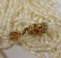 Multi Strand Freshwater Baroque Pearl Necklace Lucky Good Luck Dragon Clasp