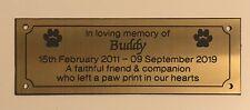 Brass effect Pet Memorial Bench Plaque (Dog Paw Print)
