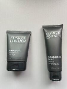 Brand New! Clinique For Men Moisturizing Lotion Full Size 3.4oz Face Scrub Combo