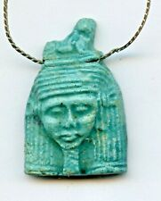 """Ancient Egyptian Faience Amulet Queen Figurine Pendant 19"""" sterling Necklace"""