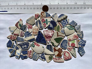 SCOTTISH SEA GLASS BEACH FINDS 200g PATTERNED POTTERY PIECES