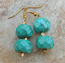 Turquoise Earrings Faceted Double Semi-Precious Gemstone Brushed Gold USA Seller