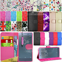 For Sony Xperia XZ1 - Wallet Leather Case Flip Book Cover + Screen Protector