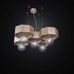 Suspended Lights Contemporary Wooden A 5 Lights Bga 2547/5