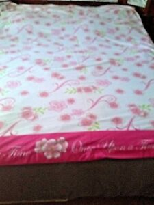 "DISNEY Princess 79x85"" Once Upon A Time Flat Sheet Pink White Flowers FABRIC"