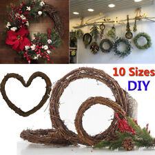 UK Christmas Xmas Artificial Vine Ring Wreath Rattan Wicker Garland Party Decor