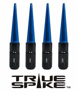 20 TRUE SPIKE 121MM 12X1.5 FORGED STEEL TUNER LUG NUTS W/ BLUE EXTENDED SPIKES C