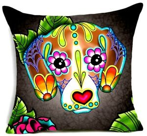 """SUGAR SKULL CUSHION COVER 17"""" Day of the Dead DOG Tan Grey Pink Blue Red BEAGLE"""