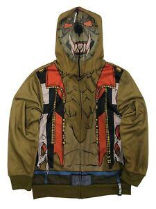 Boys Fortnite Brown Werewolf Cosplay Hoodie Zip Front Mesh Face Size LG NWT