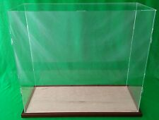 "35""L x 17""W x 28""H display case with 3/16"" thick acrylic Walnut wood frame base"