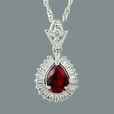 Stunning 18K White Gold Plated Cubic Zirconia Pear Cut Red Ruby Pendant Chain