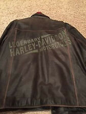 Mens Brown Distressed Leather Harley Davidson Jacket - American Legend  XL