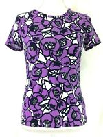 TALBOTS knit top PETITE SMALL purple blue white floral short sleeves (J886)