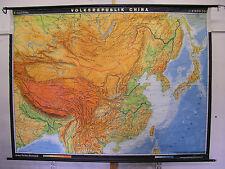 Schulwandkarte Wandkarte China Peking Shanghai Himalaja Nanking  214x160cm 1971