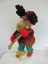 SANTA'S BEST ANIMATED MOOSE FIGURE CHRISTMAS HOLIDAY DISPLAY HUNTER VINTAGE 24""