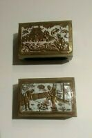 Lot of 2 Antique Chinese Enamel Matchbox Holders Pagoda Fish Monster & Family
